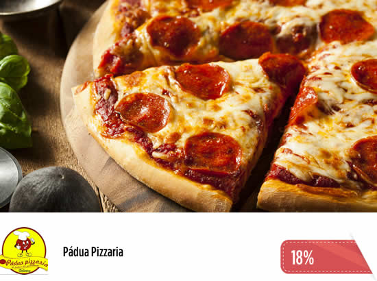 18% OFF na Pádua Pizzaria. Pizza grande com borda + pizza pequena doce + suco natural + Delivery. De R$ 122 por R$ 100.